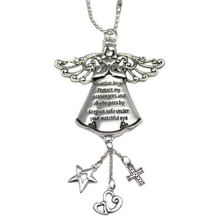 Guardian Angel Protect My Passengers and All Who Pass By Car Charm - By (Passenger Car Stripes)