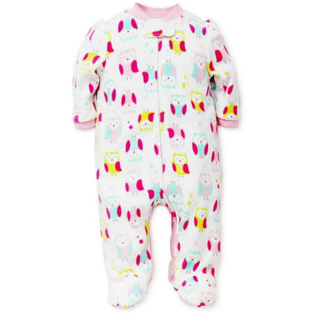 Owl Blanket Sleeper Warm Fleece Footie Footed Pajamas White 6 Months Baby Fleece Footed Pajamas For Girls