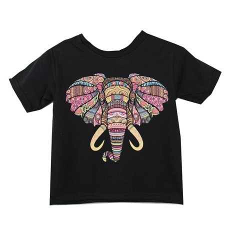 Girls Black Mosaic Elephant Print Short Sleeve Cotton T-Shirt 8-20