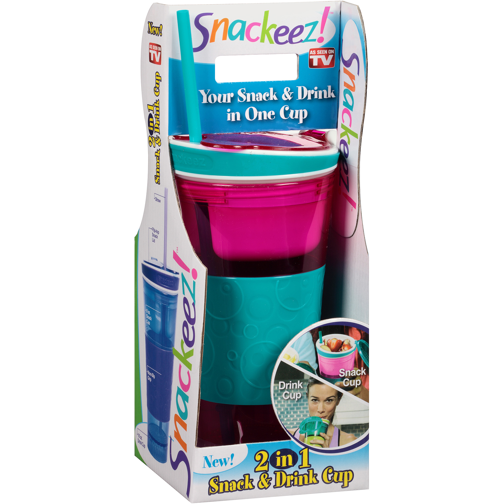 As Seen on TV Snackeez Snack and Drink Travel Cup (Color May Vary)