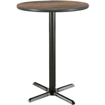 42 Inch Round Bar Height Pedestal Table W/ Walnut Laminate Top, Cast Iron Base ()