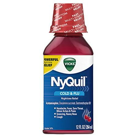 3 Pack Vicks NyQuil Rhume et grippe secours Nighttime saveur de cerise liquide 12 oz Chaque