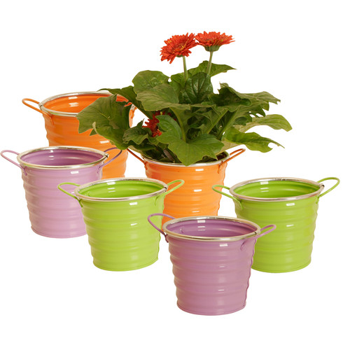 WaldImports Assorted Colors Round Metal Painters Bucket (Set of 6)