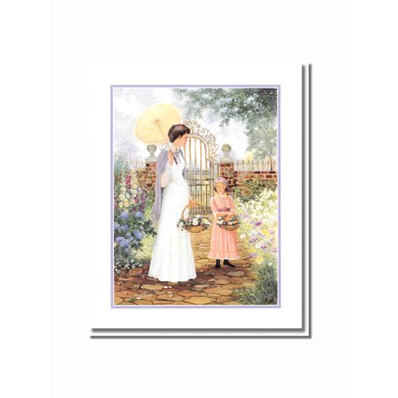 Victorian Mother and Daughter Flower Garden Wall Picture 8x10 Art Print