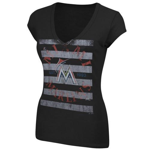 Majestic Miami Marlins Women's Emotional Reaction T-Shirt - Black - M