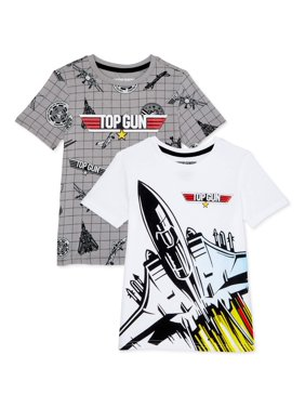 Top Gun Boys All Over Print Graphic Short Sleeve T-Shirt, 2-Pack, Sizes 4-20