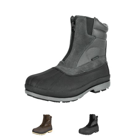 NORTIV 8 Mens Winter Warm Insulated Waterproof Snow Boots Hiking Winter Outdoor Snow Boots 170410 GREY/BLACK Size 11