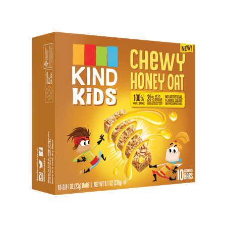 (2 Pack) KIND Kids, Honey Oat Granola Bar, 10ct, .81 oz Bars, Gluten Free, Non GMO, 100% Whole Grains - Honey Granola Bar