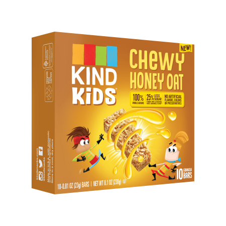 (2 Pack) KIND Kids, Honey Oat Granola Bar, 10ct, .81 oz Bars, Gluten Free, Non GMO, 100% Whole Grains
