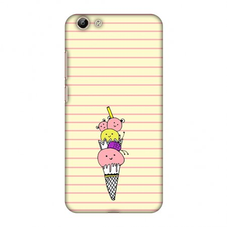 Vivo Y69 Case - Ice Cream Sisters- Yellow, Hard Plastic Back Cover, Slim  Profile Cute Printed Designer Snap on Case with Screen Cleaning Kit