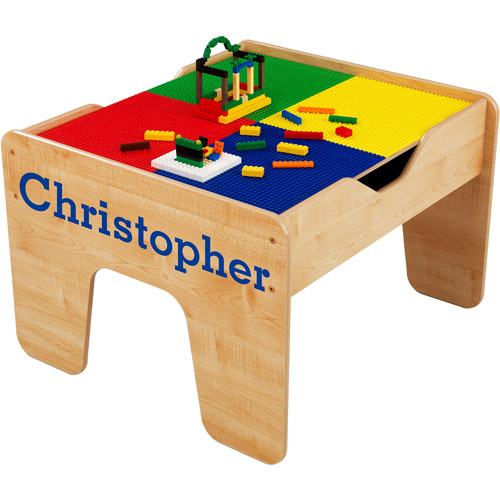 KidKraft - Personalized 2-in-1 Activity Table, Blue Serif Font Boy's Name, Christopher