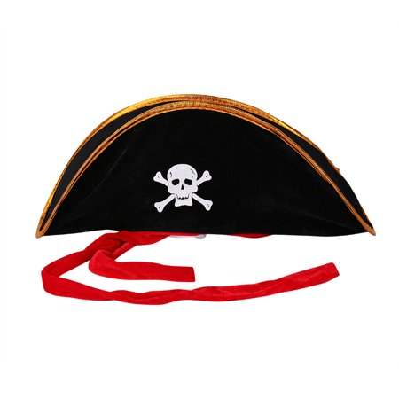 Pirate Captain Hat Skull Crossbone Cap Costume Fancy Dress Party Halloween