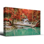 wall26 - Stream and Waterfall in Exotic Location - Canvas Art Home Decor - 16x24 inches