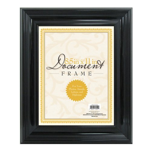 "Document Frame, High-Gloss Black, 8.5"" x 11"""