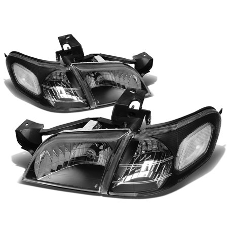For 1997 to 2005 Chevy Venture / Oldsmobile Silhouette 4pcs Headlight+Corner Lamp Black Housing Clear Corner 99 00 01 02 03 04 Left+Right 99 Oldsmobile Silhouette Van
