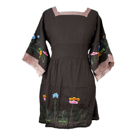 Cotton Gauze Dress with Floral Embroidery and Kimono Sleeves - Brown - Size - Cotton Gauze Dress