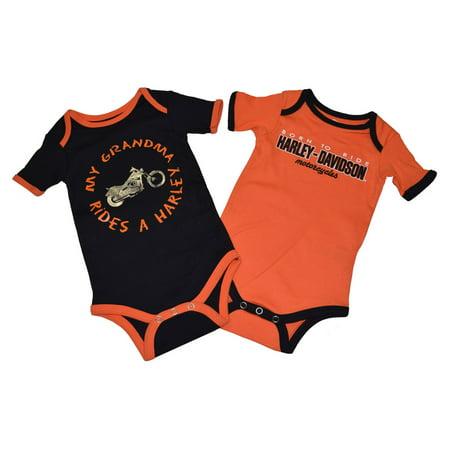 harley-davidson 18 months baby boys' creeper set, grandma rides a