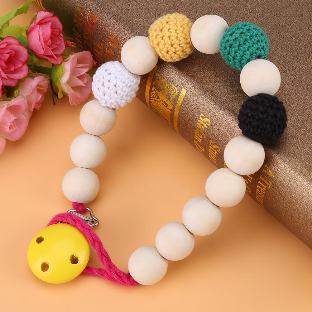 VGEBY Infant Pacifier Soother Holder Crochet Wooden Beads Chain Metal Clip Baby Shower Feeding Toy, Pacifier Strap, Pacifier Clip