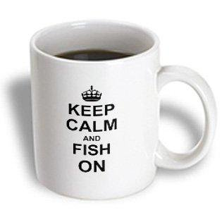 3dRose Keep Calm and Fish on - carry on fishing - gifts for fishermen fisherman - fun funny humor humorous, Ceramic Mug,