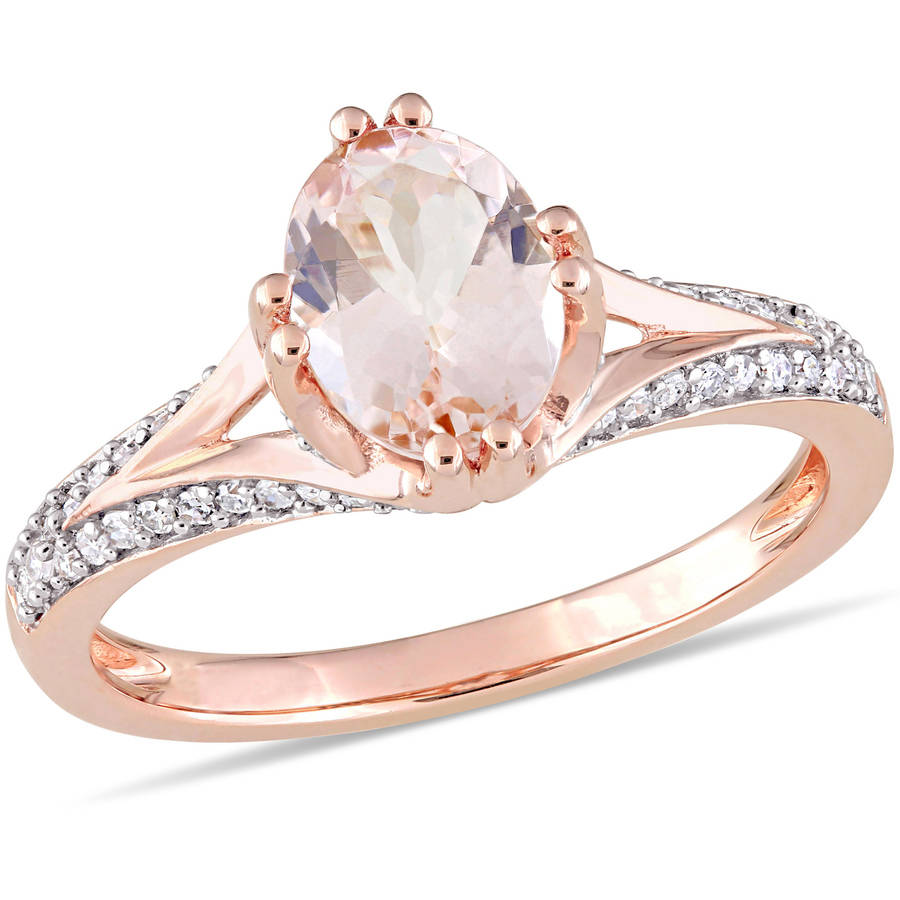 Tangelo 1-1 7 Carat T.G.W. Morganite and 1 5 Carat T.W. Diamond 14kt Rose Gold Engagement Ring by Tangelo