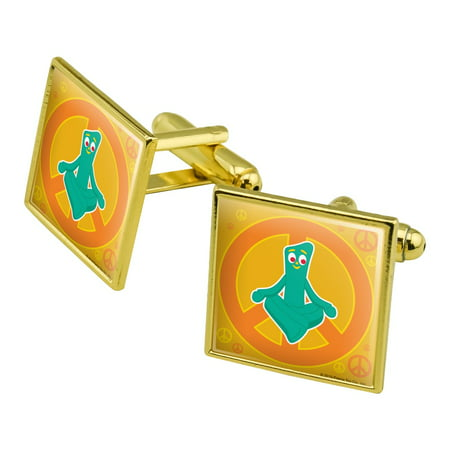 Meditating Gumby with Peace Sign Square Cufflink Set - Silver or Gold Yellow Gold Peace Sign