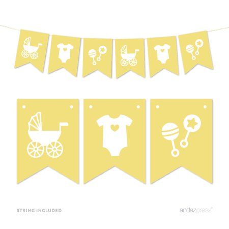 Yellow Pennant Party Banner Baby Shower Rattles Carriage Onesie for $<!---->