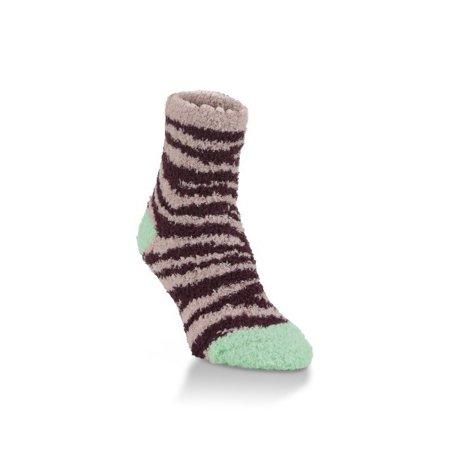 World's Softest Socks - Cozy Collection - Novelty Quarter - Seaside Zebra Print (Zebra Print Cozy Cover)