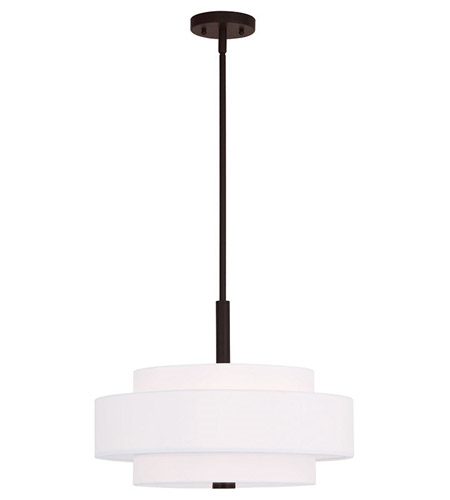 Pendants Porch 4 Light With Hand Crafted Off-White Fabric Hardback Shade Bronze size 18 in 240 Watts - World of Crystal