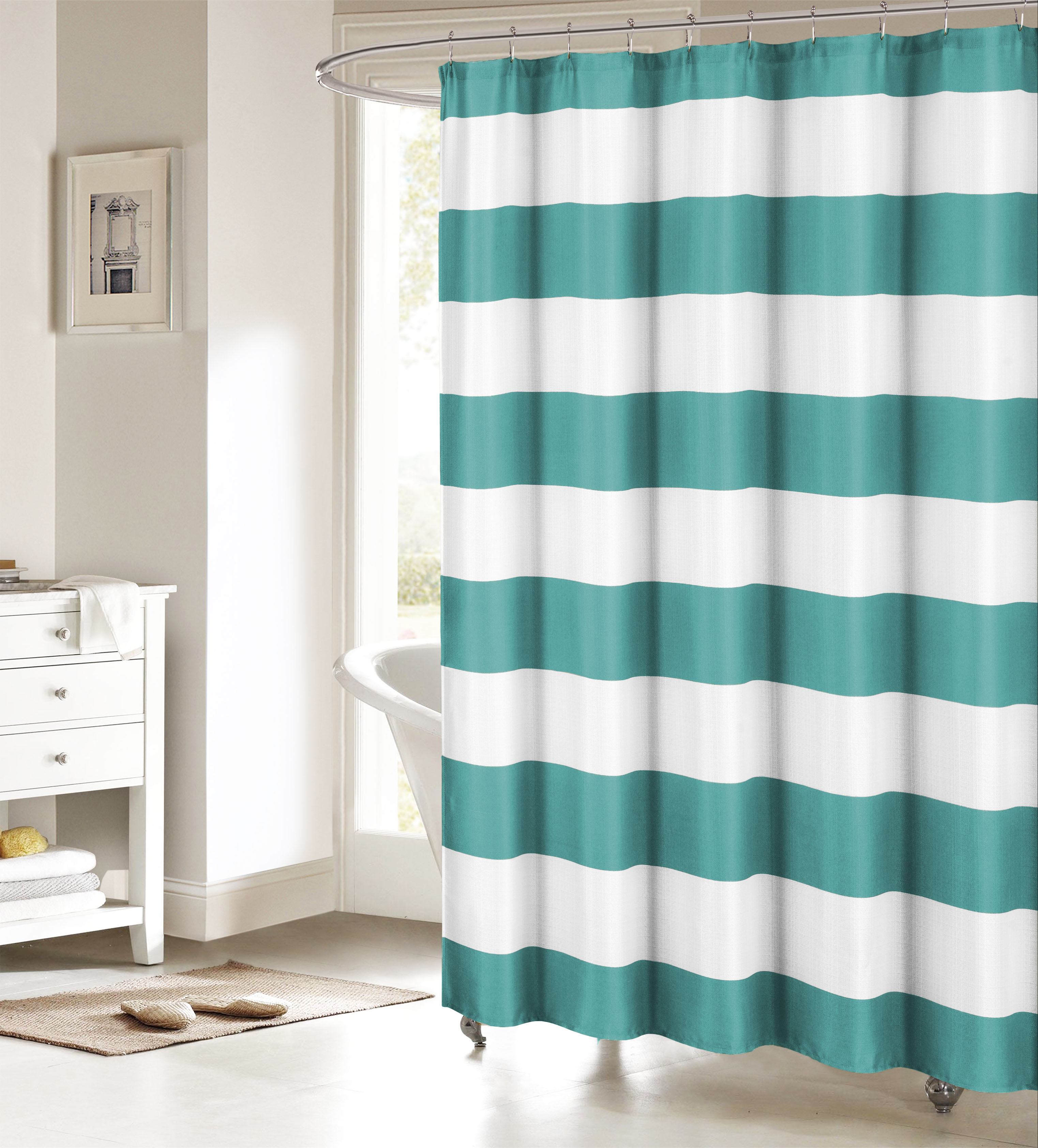Teal and White Fabric Shower Curtain: Nautical Stripe ...