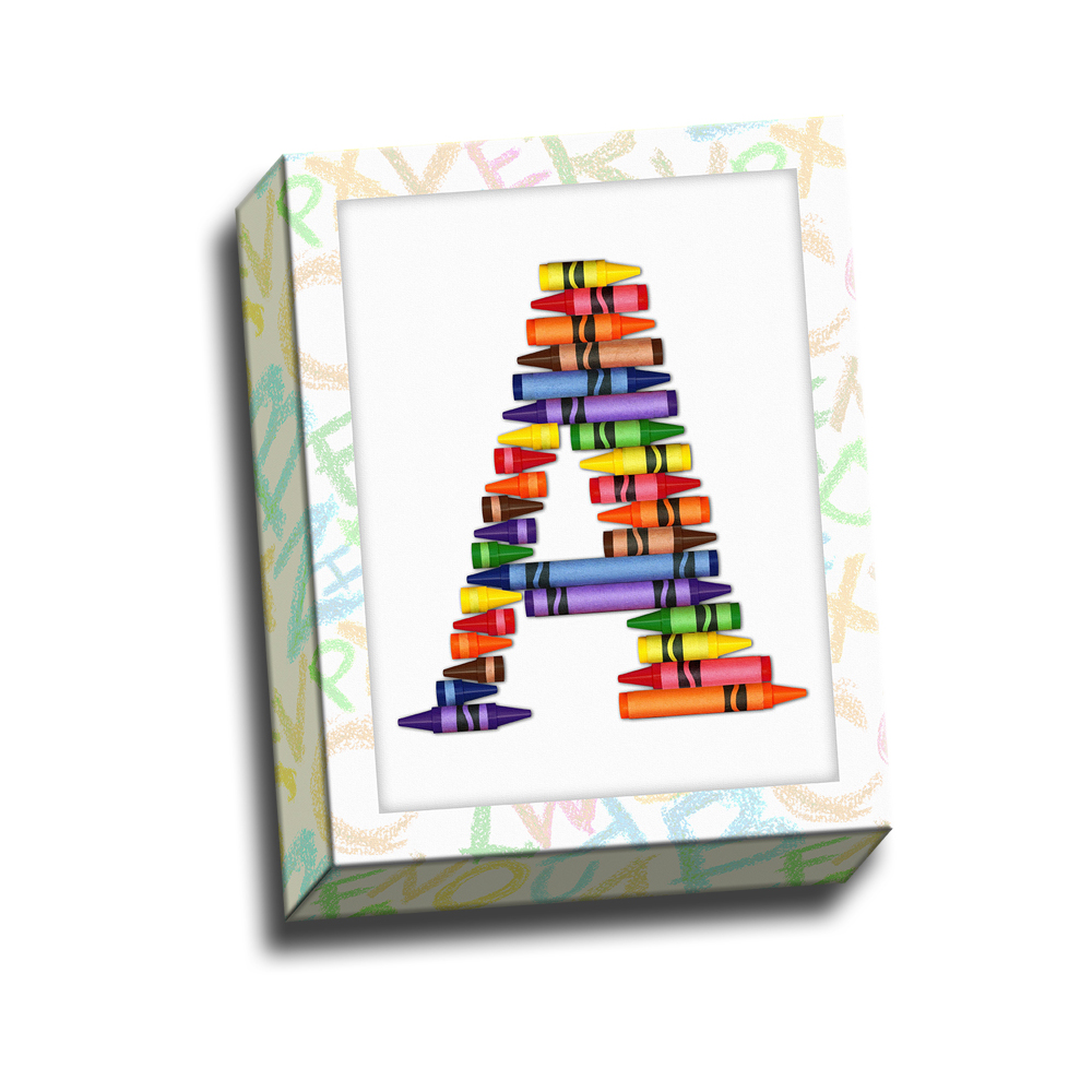Alphabet Crayon A Kids Printed on Canvas Stretched Framed Ready to Hang