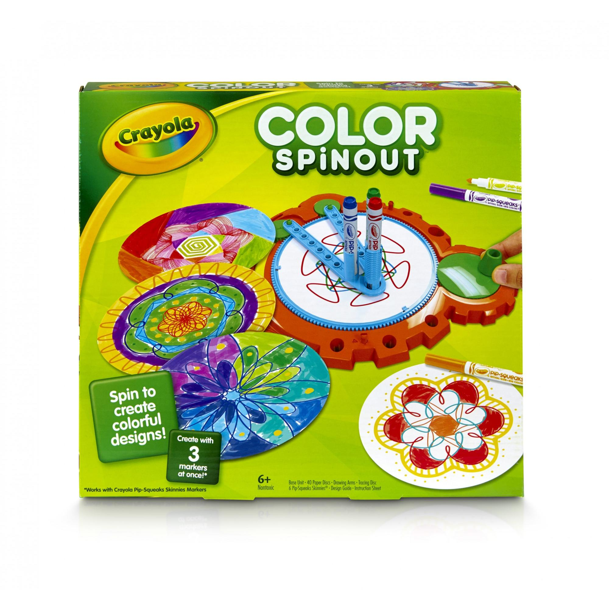Crayola Color Spinout, Includes Unit, 6 Pip Skinny Markers, Design Guide and Instructions