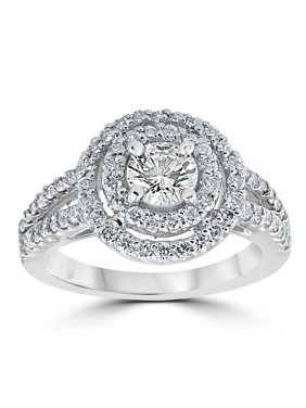 1 1/2 cttw Pave Double Halo Round Brilliant Cut Engagement Ring 14K White Gold