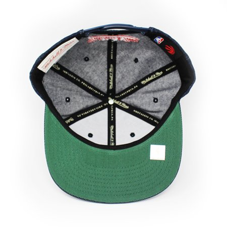 Mitchell and Ness Toronto Raptors Raw Denim PU Visor Blue Denim Snapback Hat - image 2 of 5