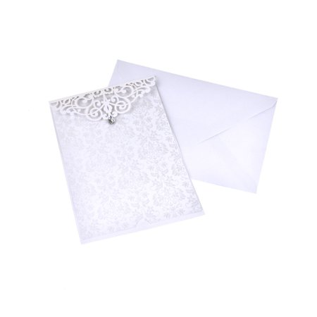 Rhinestone Buckles Invitations (Blank Rectangular Laser Cut Lace Invitation with Rhinestone, 7-3/4-Inch, 8-Piece,)