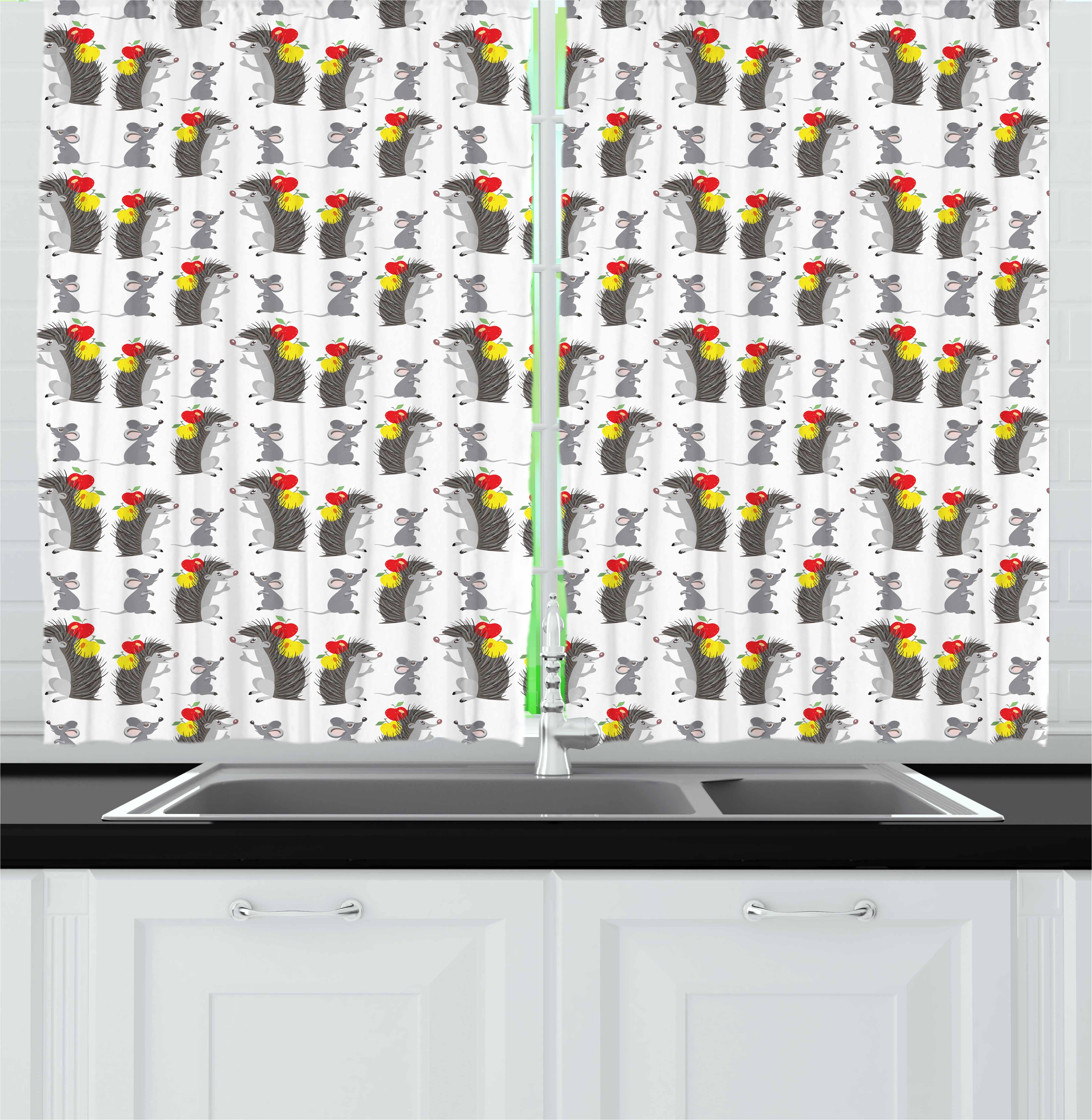 Apple Curtains 2 Panels Set, Funny Cartoon Hedgehog and Mouse Carrying Apples Happy and Playful Kids Design, Window Drapes for Living Room Bedroom, 55W X 39L Inches, Grey Red Yellow, by Ambesonne