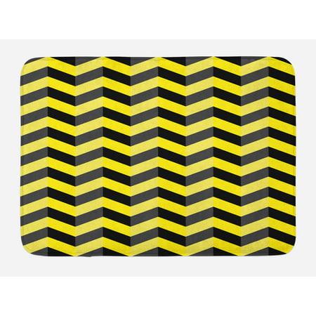 Yellow Chevron Bath Mat, Black and Yellow Chevron Pattern Danger Hazard Warning Sign Stripes Zigzag, Non-Slip Plush Mat Bathroom Kitchen Laundry Room Decor, 29.5 X 17.5 Inches, Black Yellow, (Dangers Of 2nd Floor Laundry Room Vibration)
