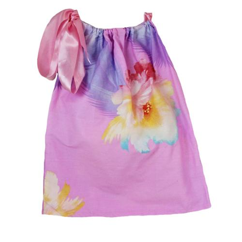 Little Girls Pink Lavender Floral Print Pillowcase Dress 1-5Y