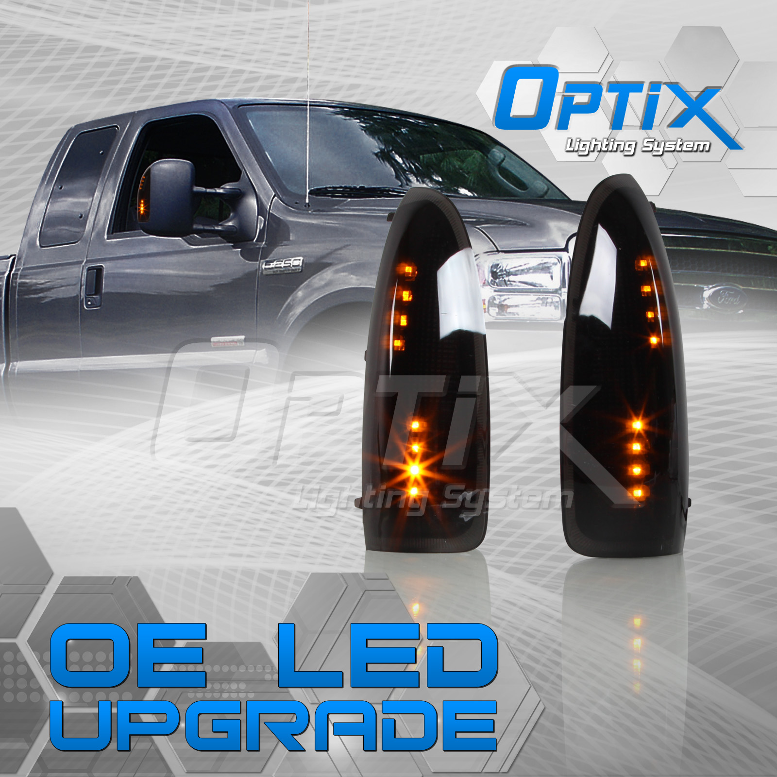 Optix Premium Amber Led Side View Mirror Turn Signal Mirror Lights Fits