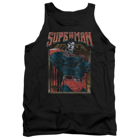 Superman DC Com Classic Heavy Metal Rock Style Logo And Image Adult Tank T-Shirt