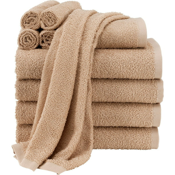Mainstays Value Terry Cotton Bath Towel Set - 10 Piece Set, Tan