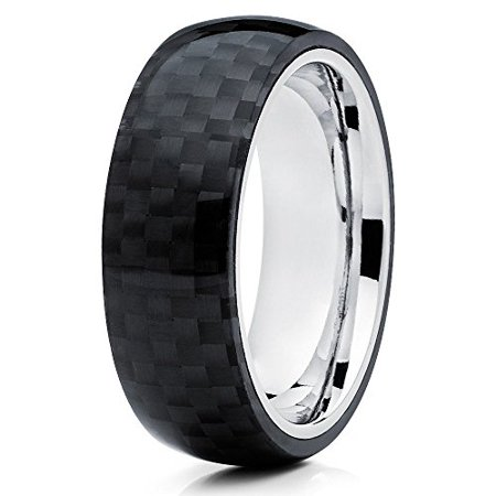 - Silly Kings 8mm Titanium Wedding Ring Carbon Fiber Inlay Handmade Custom Unisex Mens Womens Band