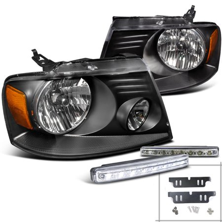 Spec-D Tuning For 2004-2008 Ford F150 Jdm Black Headlights + Front Leds/Bumper Fog Light (Left+Right) 2004 2005 2006 2007 2008