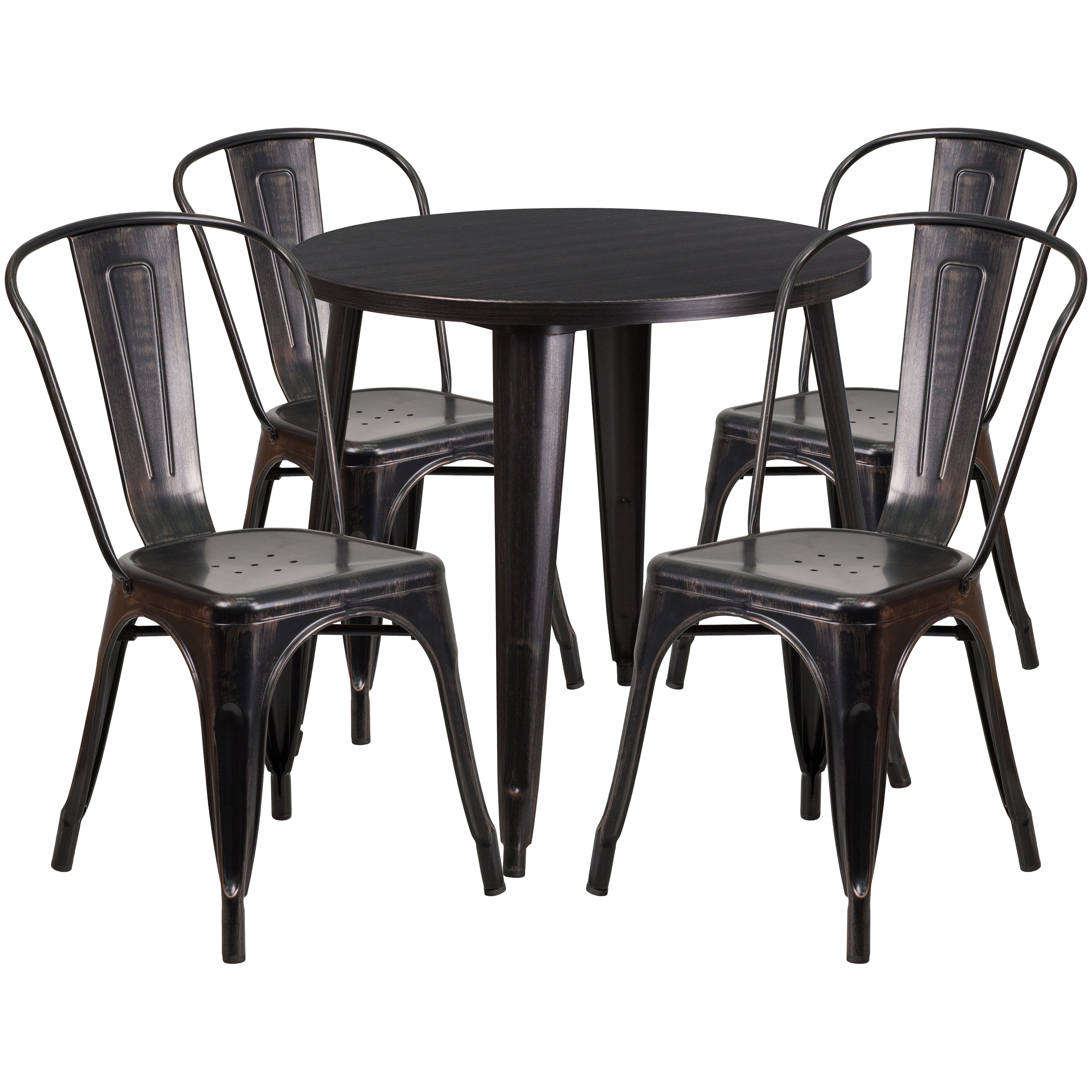 "Flash Furniture 30"" Round Black-Antique Gold Metal Indoor-Outdoor Table Set with 4 Cafe Chairs"
