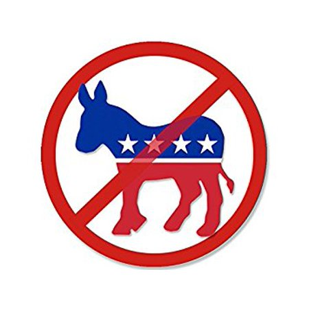 Camo 4 X 4 Decals (Round NO Democrat Donkey Logo Sticker Decal (anti dnc decal) Size: 4 x 4 inch )