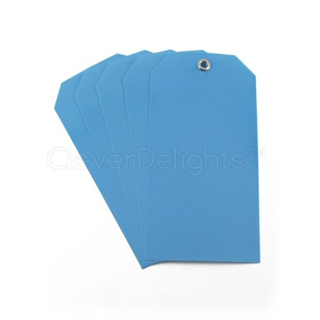 100 Pack - CleverDelights Blue Plastic Tags - 4 75