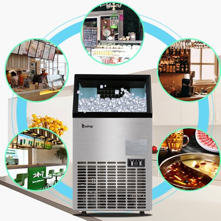 Portable Ice Maker - 2019 New Style Stainless Steel Countertop Ice Maker Machine, Freestanding Commercial Ice Maker Machine for Restaurants, Bars, Homes and