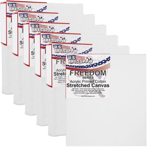 US Art Supply 4 X 5 inch Professional Quality Acid Free Stretched Canvas 6-Pack - 3/4 Profile 12 Ounce Primed Gesso