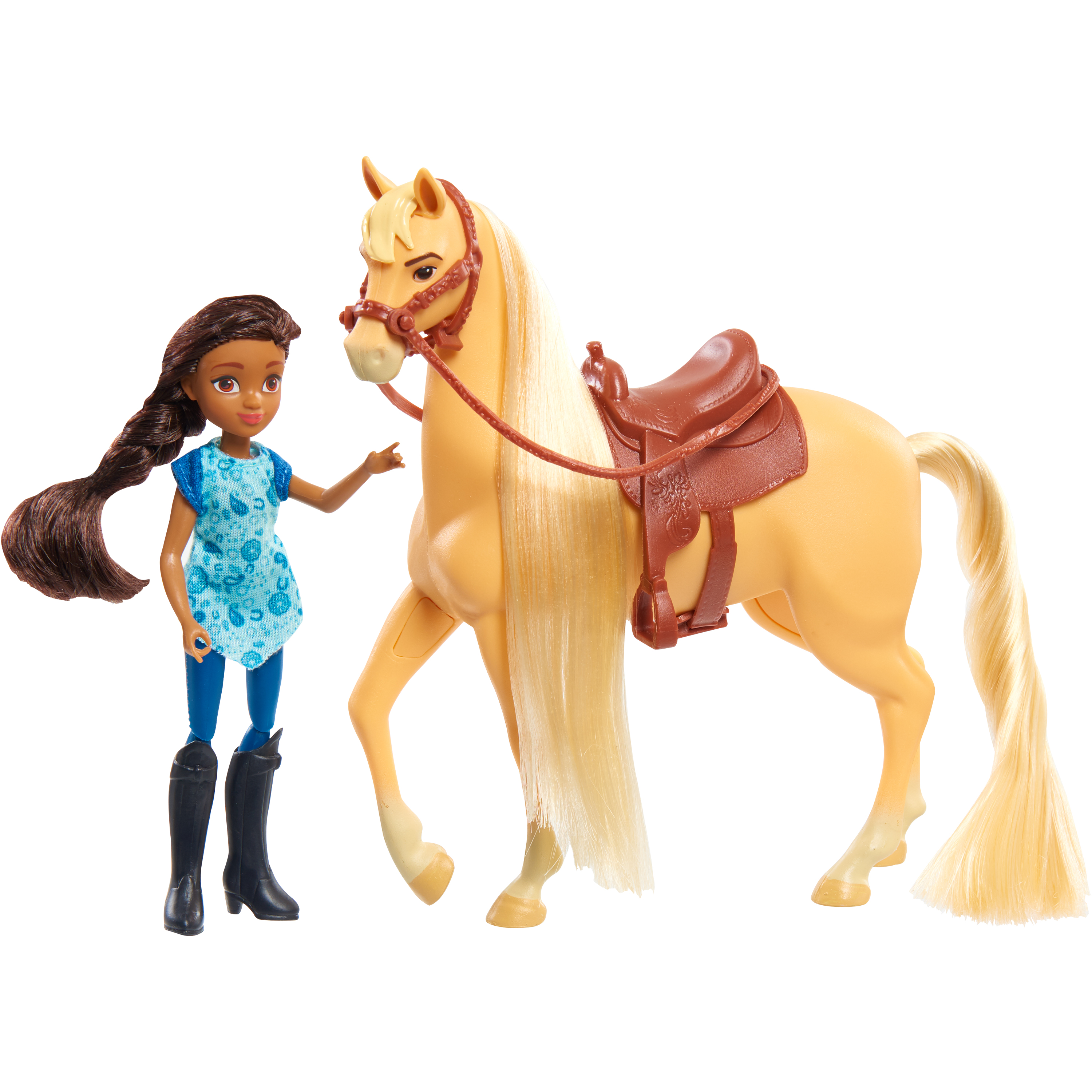 Spirit riding free collector's series doll & horse set - pru and chica linda
