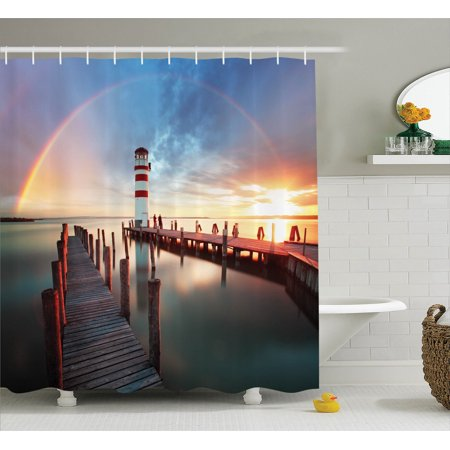 Seaside Bathroom Accessories (Lighthouse Decor Shower Curtain Set, Sunset At Seaside With Wooden Docks Lighthouse Clouds Rainbow Waterfront Reflection, Bathroom Accessories, 69W X 70L Inches, By)