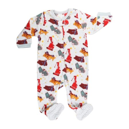 4bcc66cb71da Elowel Little Boys White Red Sand Truck Print Footed Fleece Sleeper ...